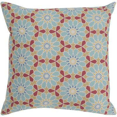 Neiman 100% Cotton Throw Pillow Size: 18 H x 18 W x 3.5 D, Color: Aqua, Fill Material: Down Fill