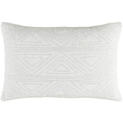 Kattie 100% Cotton Throw Pillow Color: White, Fill Material: Down Fill