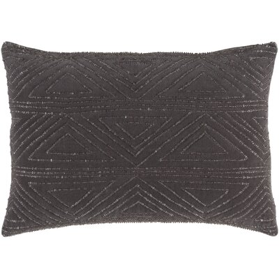 Kenneth 100% Cotton Throw Pillow Color: Charcoal, Fill Material: Down Fill