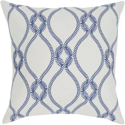 Cece 100% Cotton Throw Pillow Size: 20 H x 20 W, Color: Dark Blue, Fill Material: Down Fill