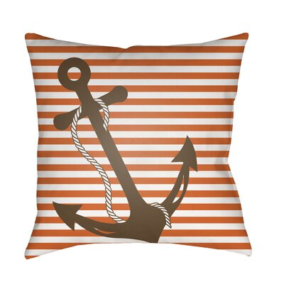 Genoa Anchor Indoor/Outdoor Pillow Cover Size: 18 H x 18 W x 3.5 D, Color: Orange