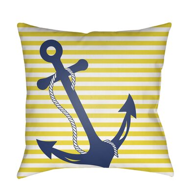 Genoa Anchor Indoor/Outdoor Pillow Cover Size: 20 H x 20 W x 3.5 D, Color: Yellow