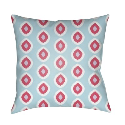 Malachi Circles Indoor/Outdoor Pillow Cover Size: 18 H x 18 W x 3.5 D, Color: Light Blue/Red