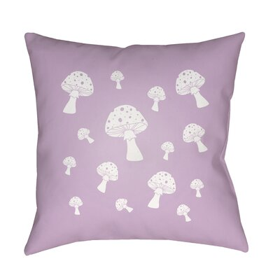 Kayla Mushrooms Indoor/Outdoor Throw Pillow Size: 18 H x 18 W x 3.5 D, Color: Purple