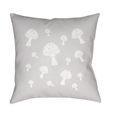 Kayla Mushrooms Indoor/Outdoor Throw Pillow Size: 18 H x 18 W x 3.5 D, Color: Light Gray