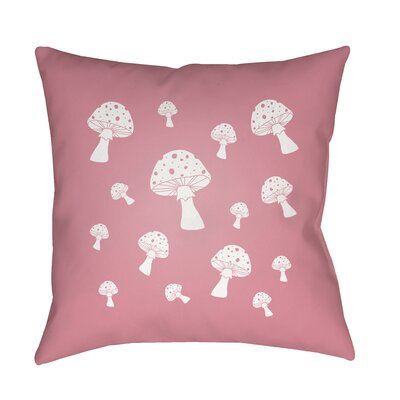 Kayla Mushrooms Indoor/Outdoor Throw Pillow Size: 18 H x 18 W x 3.5 D, Color: Pink