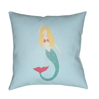 Angie Mermaid Indoor/Outdoor Throw Pillow Size: 20 H x 20 W x 3.5 D, Color: Blue