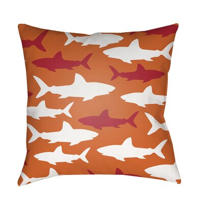 Janie Sharks Indoor/Outdoor Throw Pillow Size: 18 H x 18 W x 3.5 D, Color: Orange