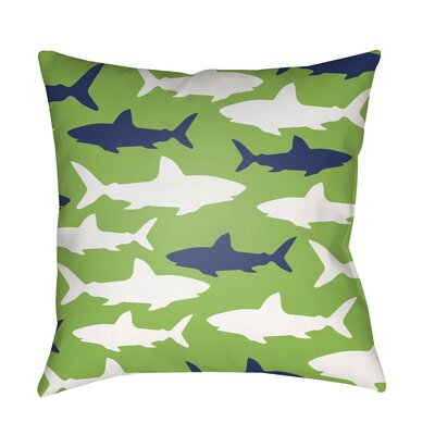 Janie Sharks Indoor/Outdoor Throw Pillow Size: 18 H x 18 W x 3.5 D, Color: Green