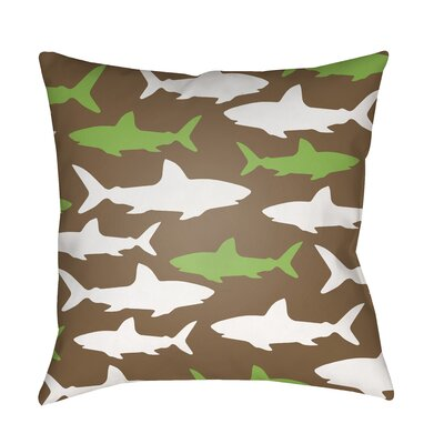 Janie Sharks Indoor/Outdoor Throw Pillow Size: 20 H x 20 W x 3.5 D, Color: Brown