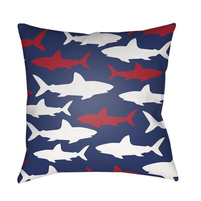 Janie Sharks Indoor/Outdoor Throw Pillow Size: 18 H x 18 W x 3.5 D, Color: Dark Blue/Red