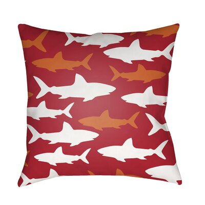 Janie Sharks Indoor/Outdoor Throw Pillow Size: 18 H x 18 W x 3.5 D, Color: Red