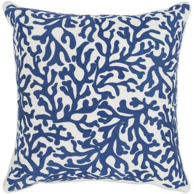 Chantel 100% Cotton Throw Pillow Size: 18 H x 18 W x 3.5 D, Color: Dark Blue, Fill Material: Polyfill