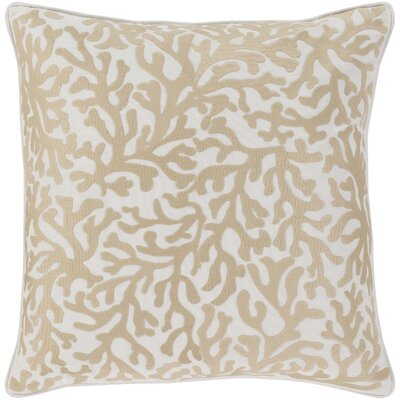 Chantel 100% Cotton Throw Pillow Size: 18 H x 18 W x 3.5 D, Color: Khaki, Fill Material: Down Fill