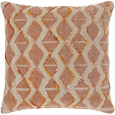 Cooke 100% Cotton Throw Pillow Color: Coral, Fill Material: Down Fill