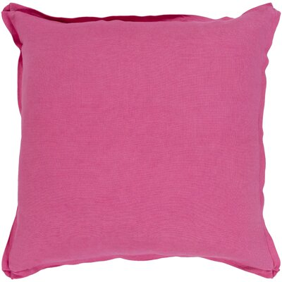 Caravel 100% Linen Throw Pillow Size: 18 H x 18 W x 3.5 D, Color: Bright Pink, Fill Material: Down Fill