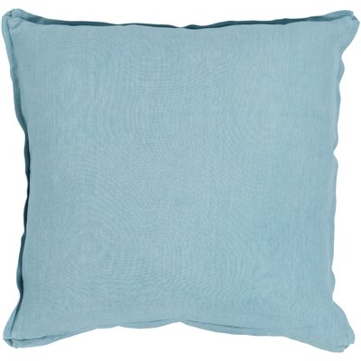 Caravel 100% Linen Throw Pillow Size: 18 H x 18 W x 3.5 D, Color: Aqua, Fill Material: Down Fill