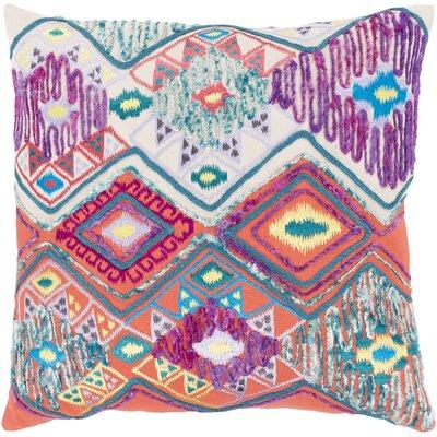 Gauge 100% Cotton Throw Pillow Size: 22 H x 22 W x 4.5 D, Color: Purple/Blue