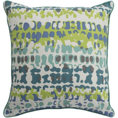 Villa Square 100% Cotton Throw Pillow Size: 18 H x 18 W, Color: Teal, Fill Material: Down Fill