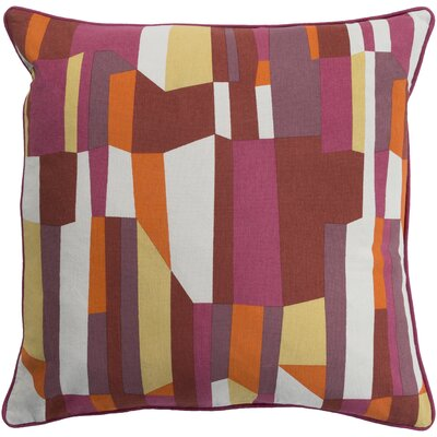 Villa 100% Cotton Throw Pillow Size: 20 H x 20 W, Color: Bright Pink, Fill Material: Down Fill