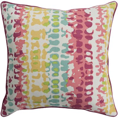 Angelena Square 100% Cotton Pillow Cover Size: 18 H x 18 W, Color: Mustard/Pink