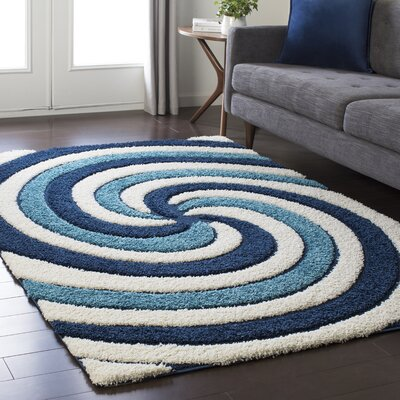 Marketfield Soft Swirly Shag Blue Area Rug Rug Size: 2' x 3'