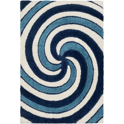 Marketfield Soft Swirly Shag Blue Area Rug Rug Size: Rectangle 710 x 103