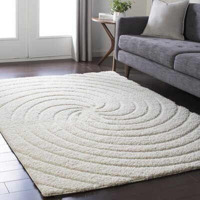 Marketfield Soft Swirly Shag White Area Rug Rug Size: Rectangle 53 x 73
