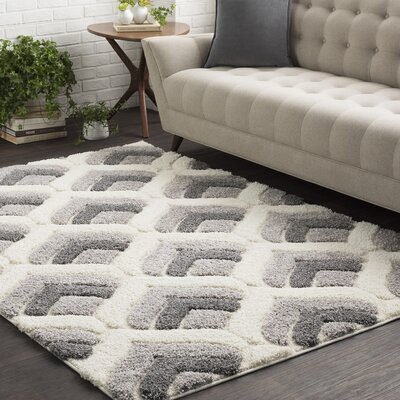 Orpha Soft Patterned Shag White/Gray Area Rug Rug Size: 710 x 103