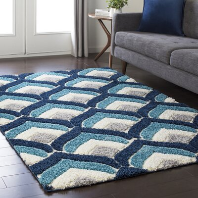 Quincy Soft Patterned Shag Blue/Gray Area Rug Rug Size: Rectangle 2 x 3