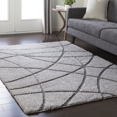 Marketfield Soft Abstract Modern Shag Gray Area Rug Rug Size: Rectangle 2 x 3