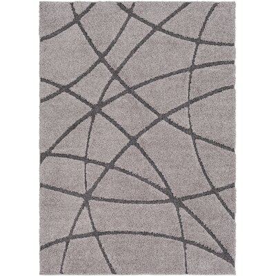 Marketfield Soft Abstract Modern Shag Gray Area Rug Rug Size: 53 x 73