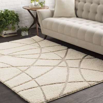 Marketfield Soft Abstract Modern Shag Beige Area Rug Rug Size: 2 x 3