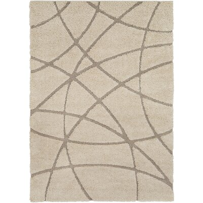 Marketfield Soft Abstract Modern Shag Beige Area Rug Rug Size: 53 x 73