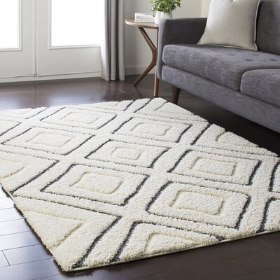 Marketfield Soft Boho Shag White/Gray Area Rug Rug Size: Rectangle 2 x 3