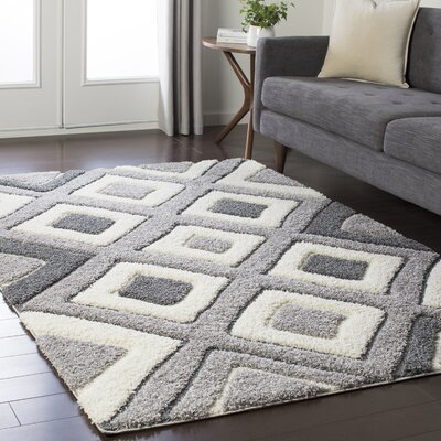 Marketfield Soft Geometric Shag White/Gray Area Rug Rug Size: 53 x 73