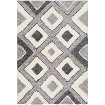 Marketfield Soft Geometric Shag White/Gray Area Rug Rug Size: Rectangle 53 x 73