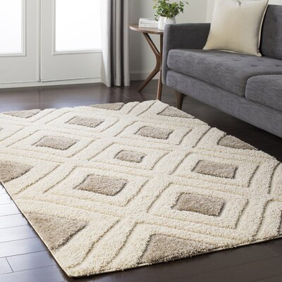 Marketfield Soft Geometric Shag Cream Area Rug Rug Size: 53 x 73