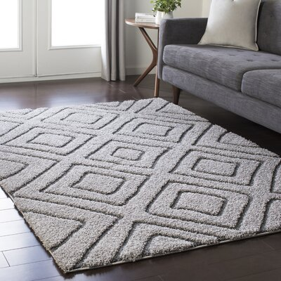 Marketfield Soft Geometric Shag Gray Area Rug Rug Size: 710 x 103