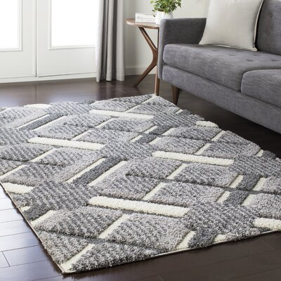 Marketfield Soft Plaid Shag Gray Area Rug Rug Size: 53 x 73
