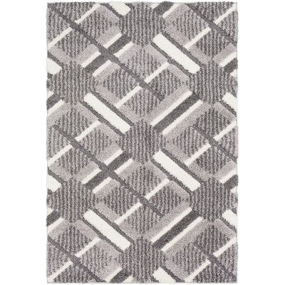 Marketfield Soft Plaid Shag Gray Area Rug Rug Size: 710 x 103