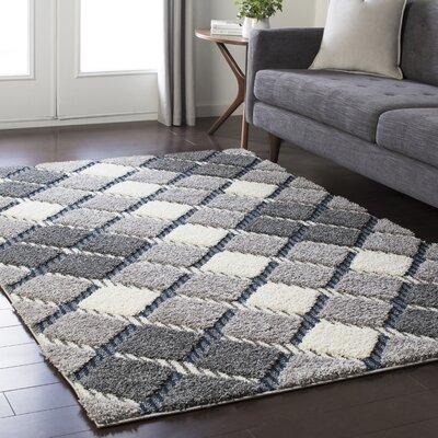 Marketfield Soft Plaid Shag Gray Area Rug Rug Size: Rectangle 53 x 73