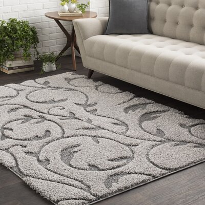Murdock Soft Floral Shag Gray Area Rug Rug Size: Rectangle 53 x 73