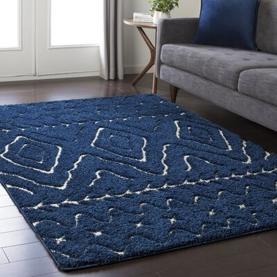 Marketfield Soft Boho Shag Blue Area Rug Rug Size: Rectangle 710 x 103