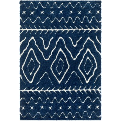 Marketfield Soft Boho Shag Blue Area Rug Rug Size: 53 x 73