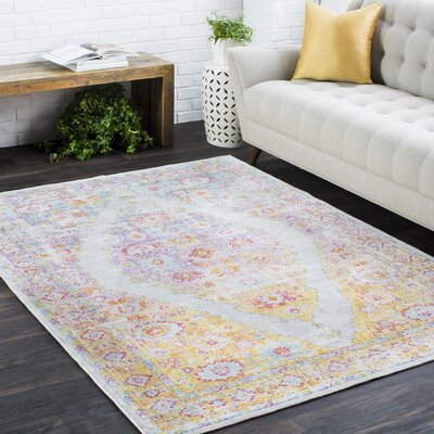 Kahina Traditional Vintage Distressed Oriental Pink/Orange Area Rug Rug Size: Rectangle 710 x 106