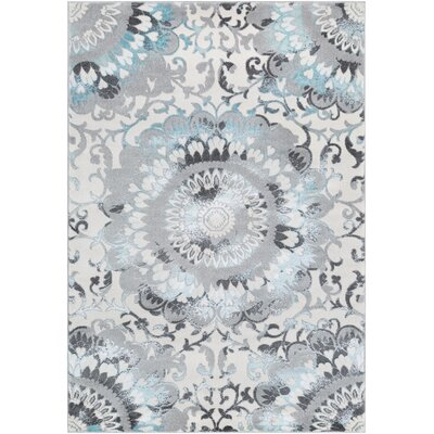 Marian Abstract Medallion Teal/Gray Area Rug Rug Size: Rectangle 53 x 73