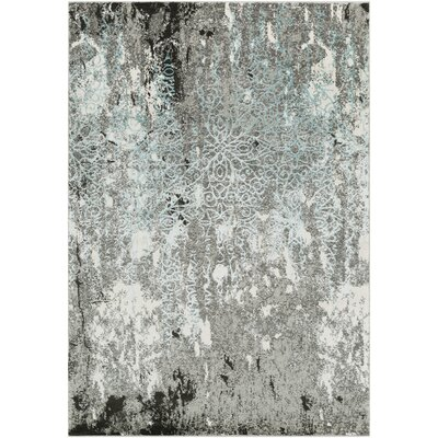 Marian Abstract Modern Gray/Teal Area Rug Rug Size: 2 x 3