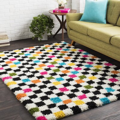 Elissa Boho Squares Black/Pink Area Rug Rug Size: Rectangle 710 x 103
