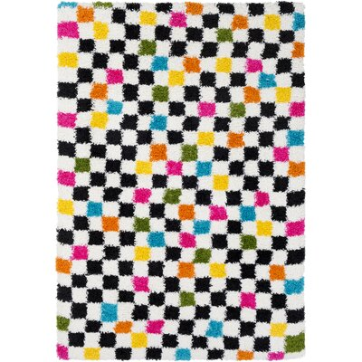 Elissa Boho Squares Black/Pink Area Rug Rug Size: Rectangle 53 x 73